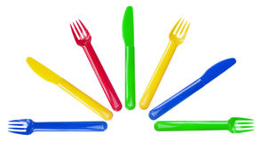 Plastic Forks and Knives Stock Photos