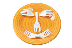 Plastic Forks on Plate Royalty Free Stock Photography