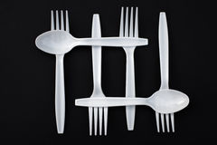 Plastic forks and spoons Royalty Free Stock Photos