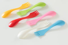 Plastic forks and spoons on White Background Royalty Free Stock Photos