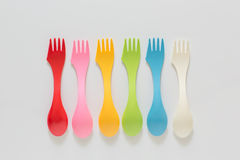 Plastic forks and spoons on White Background Royalty Free Stock Photography