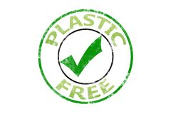 Plastic free stamp sign stock image
