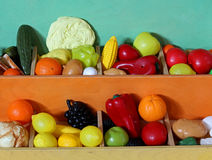 Plastic fruit to fruit and vegetable market for children Stock Images
