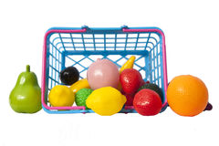 Plastic fruits with basket Royalty Free Stock Image