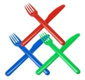 Plastic gafflar och knivar Arkivbild