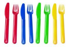 Plastic gafflar och knivar Fotografering för Bildbyråer