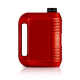 Plastic gallon. Red plastic gallon, jerry can  isolated on a white background.  (with clipping work path Stock Photos