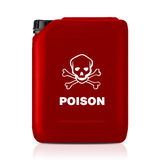 Plastic gallon. Red plastic gallon, jerry can with poison sign  isolated on a white background.  (with clipping work path Stock Image