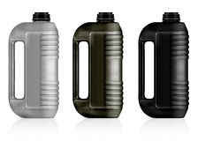 Plastic gallon. White, gray, black plastic gallon, jerry can  isolated on a white background.  (with clipping work path Royalty Free Stock Images