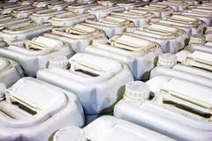 Plastic gallons. Store agricultural pesticides, in a resale stock images
