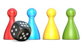Plastic game figures and one black dice 3D. Rendering illustration isolated on white background Stock Photo