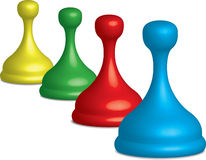 Plastic Game Pieces. 3D render of a plastic game pieces. Vector image is included Stock Images
