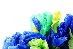Plastic garbage bags on white background royalty free stock images