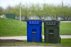 Plastic Garbage Containers Stock Photography