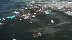 Plastic garbage floating on the sea