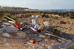 Plastic garbage washed ashore. Plastic soup: garbage washed ashore stock photo