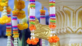 Plastic garland in Thai style stock video footage