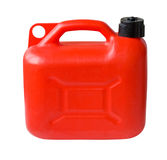 Plastic Gas can. Red Plastic Gas can (fuel container) isolated with clipping path stock photo