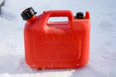 Plastic Gas Can. Red plastic gas can, also known as a jerry can stock photo