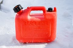 Plastic Gas Can. Red plastic gas can, also known as a jerry can royalty free stock images