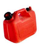 Plastic Gas Can. Red plastic gas can, also known as a jerry can stock photos