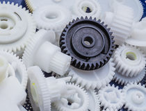 The plastic gear. Photo fragment of machine Stock Image