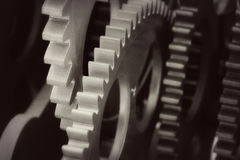 Plastic gears of souvenir clock Royalty Free Stock Photography