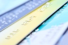 Plastic geld Stock Foto's