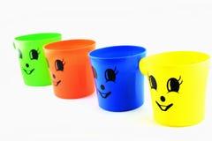 Plastic glas kleurrijk in geïsoleerd royalty-vrije stock fotografie