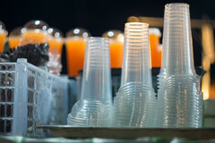 Plastic glass. Be served In orange juice shop at night Stock Photography
