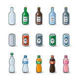 Plastic Glass Bottles Aluminium Cans Illustration Stock Photos