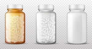 Free Plastic, Glass Bottles For Pills Realistic Vector Stock Photos - 157650343