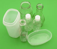 Plastic and glass containers for recycling Royalty Free Stock Photos