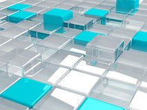 Plastic and glass cubes Stock Photo