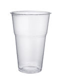 Plastic glass. Disposable plastic pint glass isolated on white Stock Images