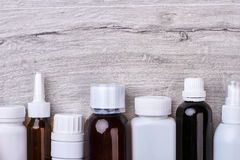 Plastic and glass drug bottles. Royalty Free Stock Photos