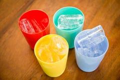 Plastic Glass with ice Stock Photo