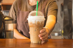 Plastic glass of iced coffee cappuccino Royalty Free Stock Photo