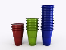 Plastic glasses. 3D illustration. Royalty Free Stock Photos