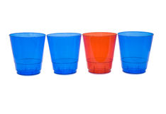 Plastic glasses. Colorful glasses on white background Stock Photos