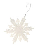 Plastic glitter snowflake ornament on a white background Royalty Free Stock Image