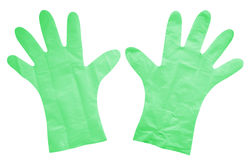 Plastic gloves isolated - green Royalty Free Stock Images