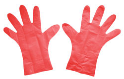 Plastic gloves isolated - red Royalty Free Stock Photo