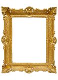 Plastic Golden Picture Frame w/ Path. Cheap looking picture frame to put your photos in. File conta Royalty Free Stock Photo