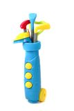 Plastic golf set toy i. Solated on the white background Royalty Free Stock Photography