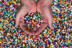 Plastic granules. Or plastic beads for children to play with Stock Image