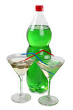 Plastic green bottle and glasses Stock Photo