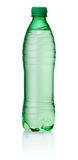 Plastic green bottle of water on white background stock image