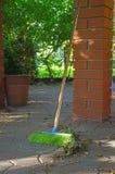 Plastic green broom Royalty Free Stock Photos