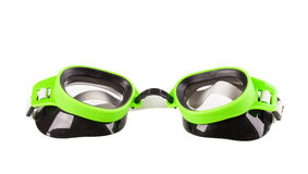 Plastic green goggles for swimming. Isolated on a white background stock photos